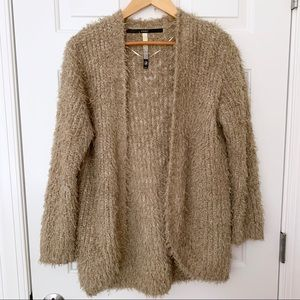 Kensie Shaggy Fuzzy Oatmeal Tan Cardigan Sweater